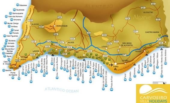 Map of the Algarve golf courses, beaches and marinas
